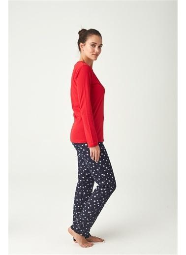 U.S. Polo Assn. U.S. Polo Assn. Kadın Gri Melanj Pijama Takımı Kırmızı